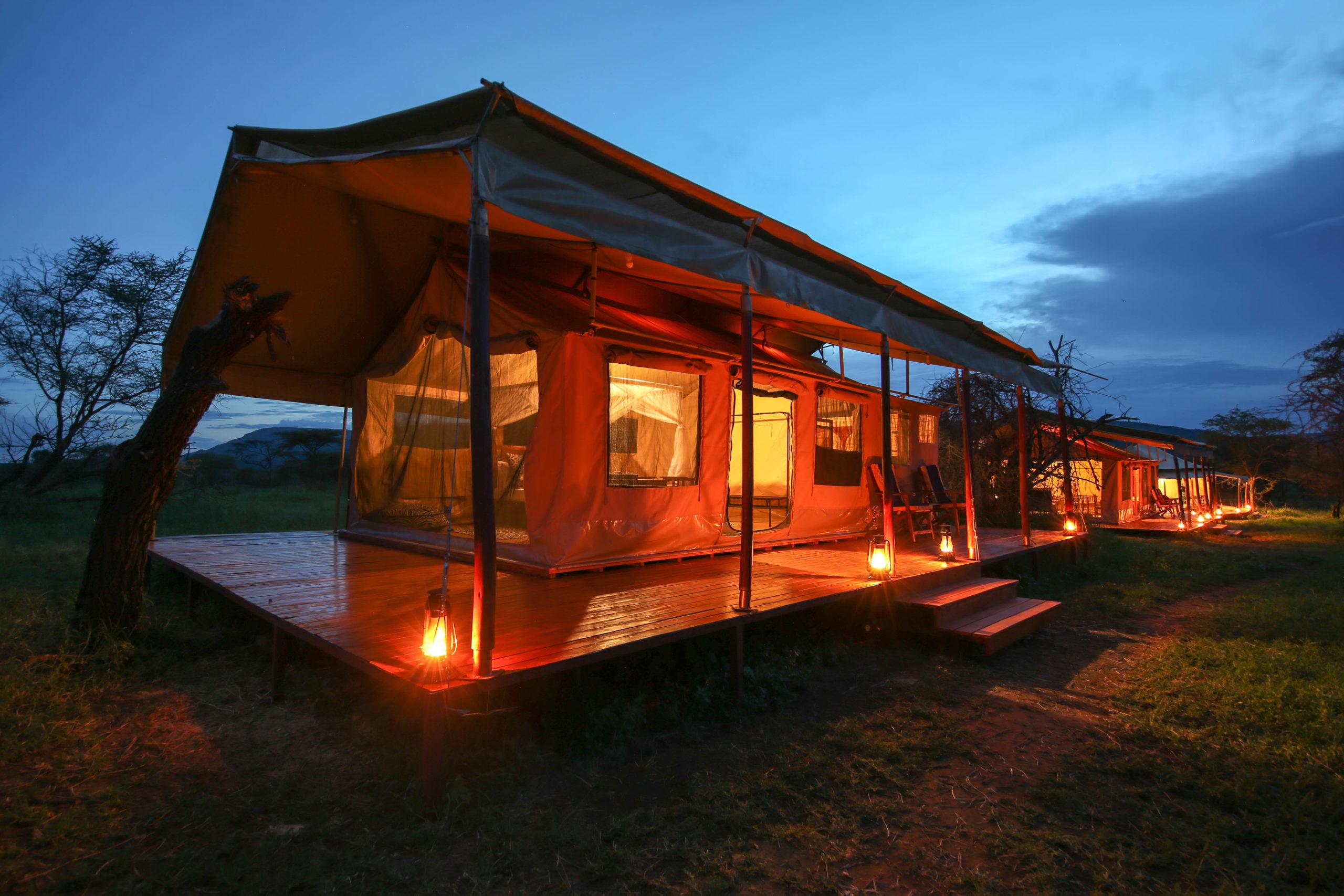 Acacia Central Camp at night