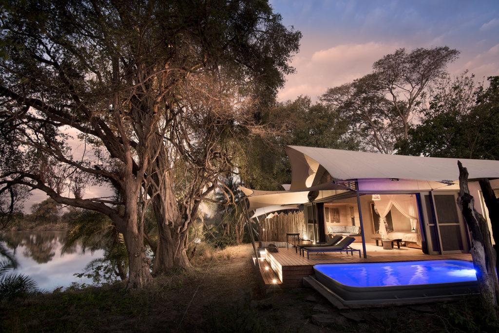 Zambia - Mosi-Oa-Tunya National Park - 1564 - Lodge with Pool at Night
