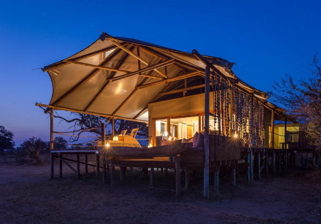 Zambia - Livingstone - 1564 - Toka Leya Camp veranda at night