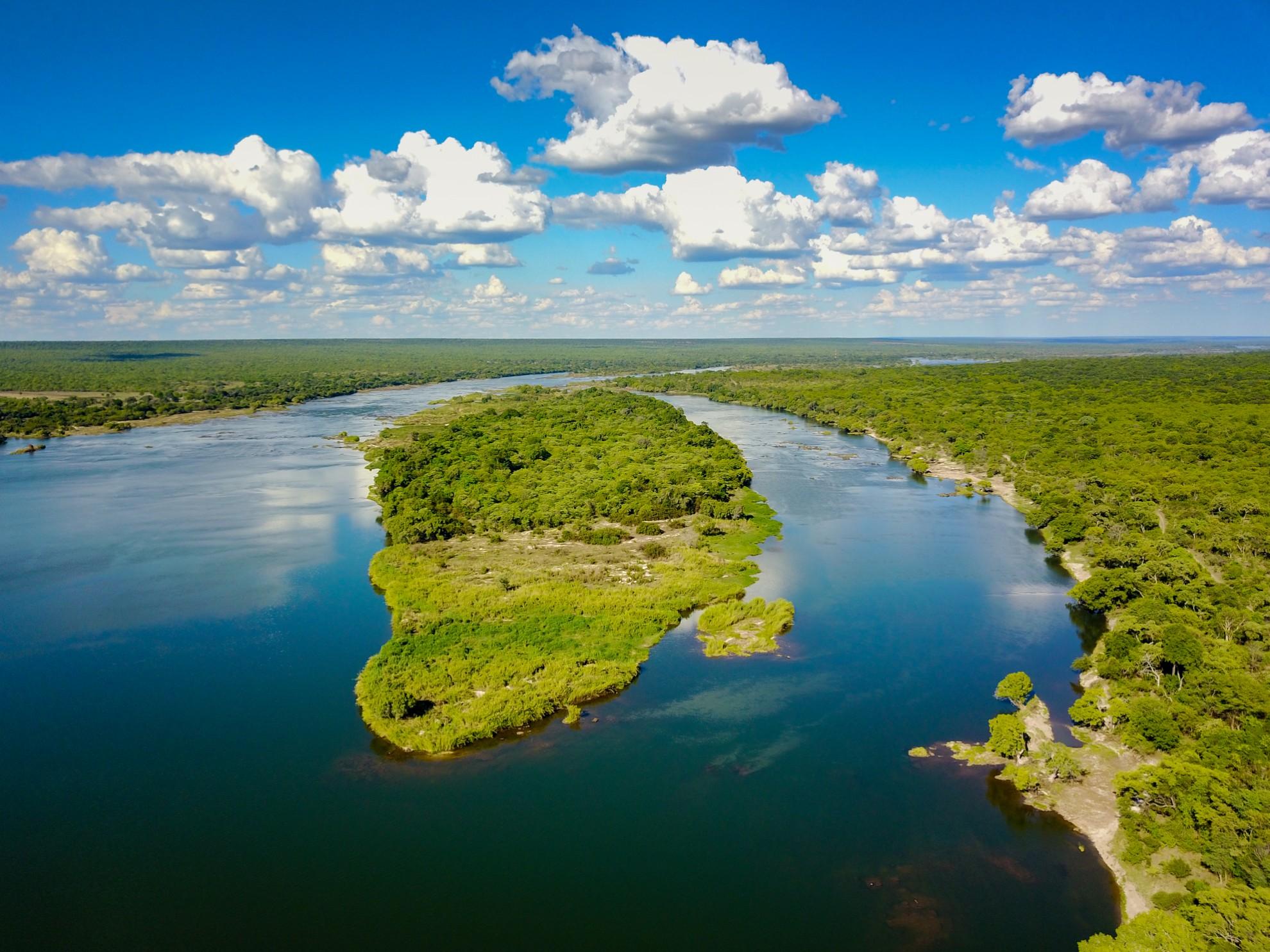Tsowa Safari Island Victoria Falls Zimbabwe Island from above