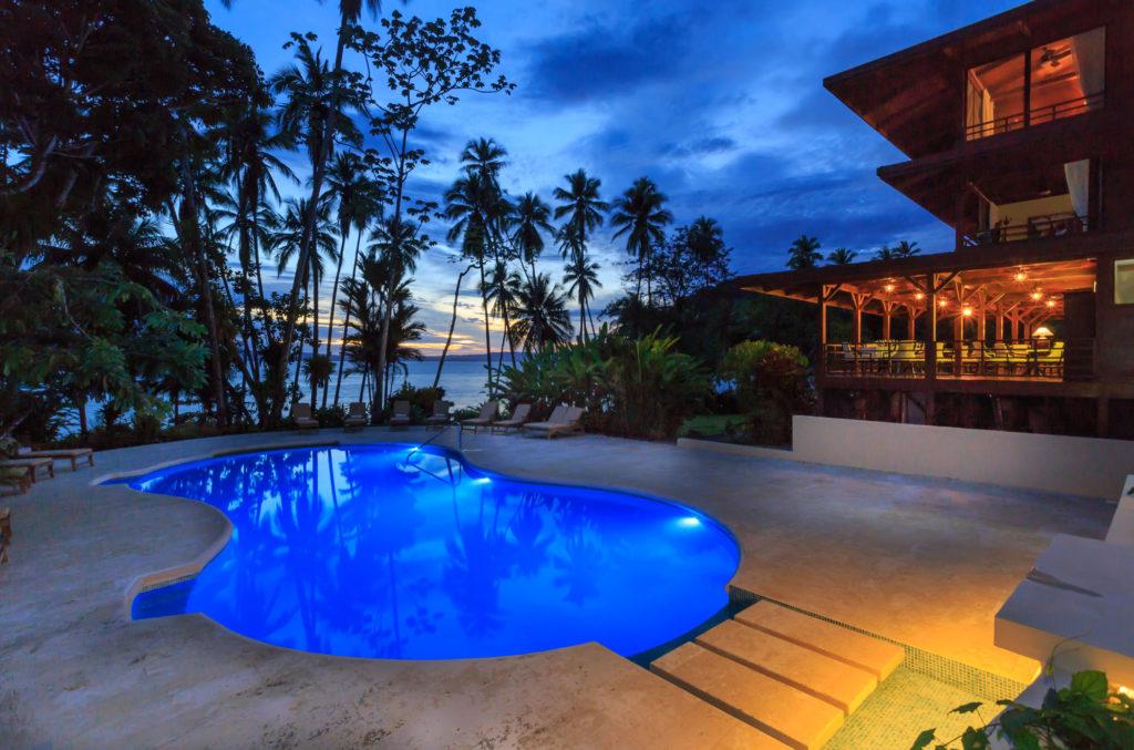 Costa Rica - 1570 - Playa Cativo Lodge pool at night