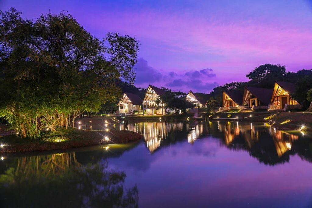 Sri Lanka - Dambulla - 1567 - Liyya Water Villas At Night