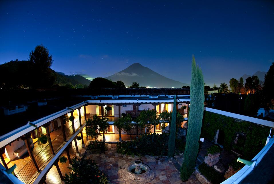 Guatemala - Antigua - 10024 - Casa Santo Domingo at night