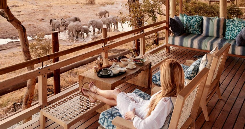 Botswana - 1553 - Belmond Savute Elephant Lodge Botswana - Decking Elephant Watching