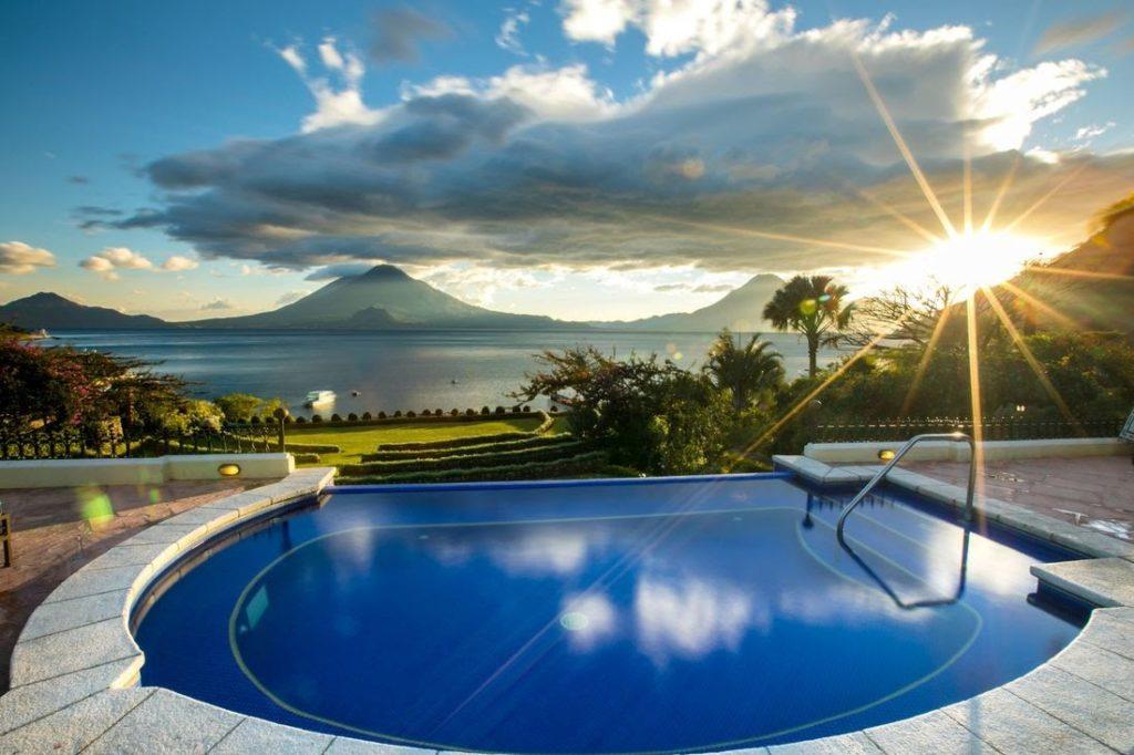 Guatemala- Panajachel- 10024- Hotel Atitlan Pool Views