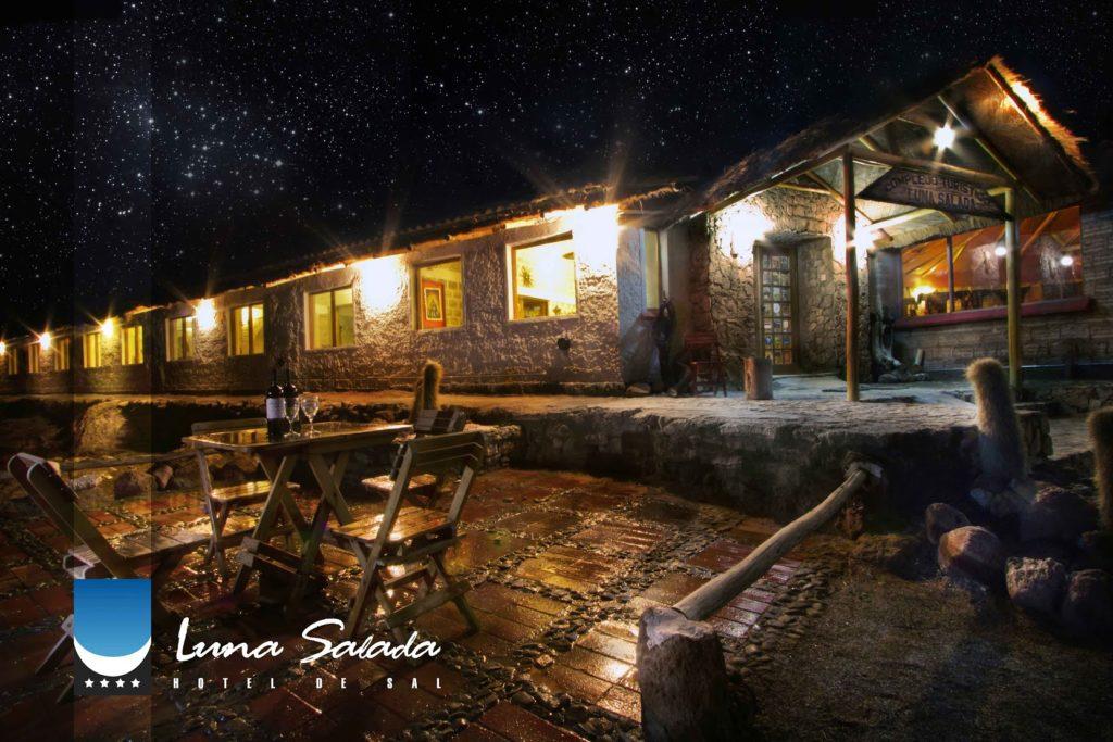 Bolivia - Colchani - 1561 - Night Hotel Exterior