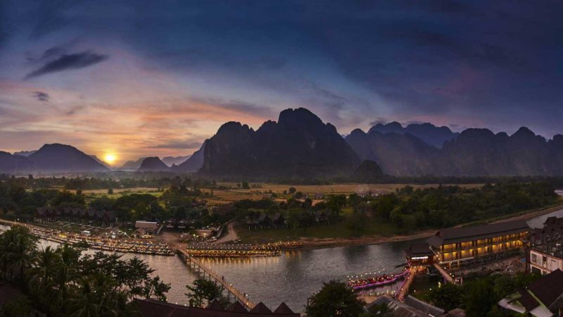 Laos - 17089 - Amari Vang Vieng - Mountains and River at Sunset