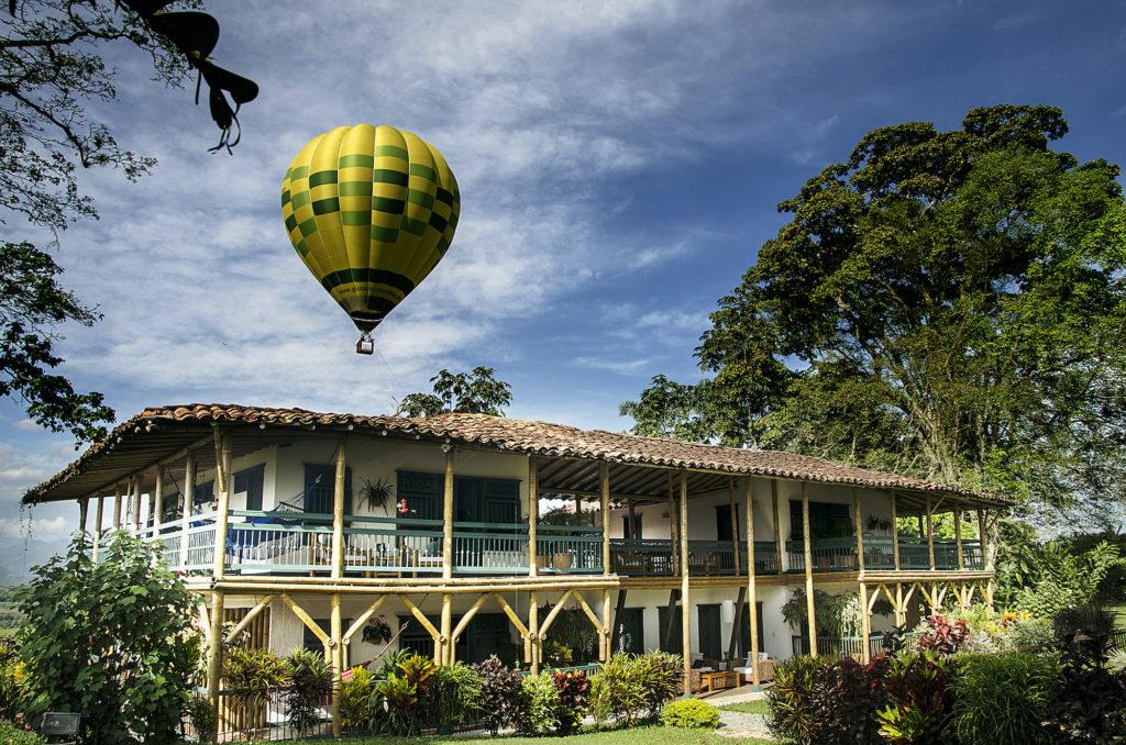 Colombia - Montenegro - 1558 - Hacienda Bambus Exterior Hotel Air Balloon Landscape