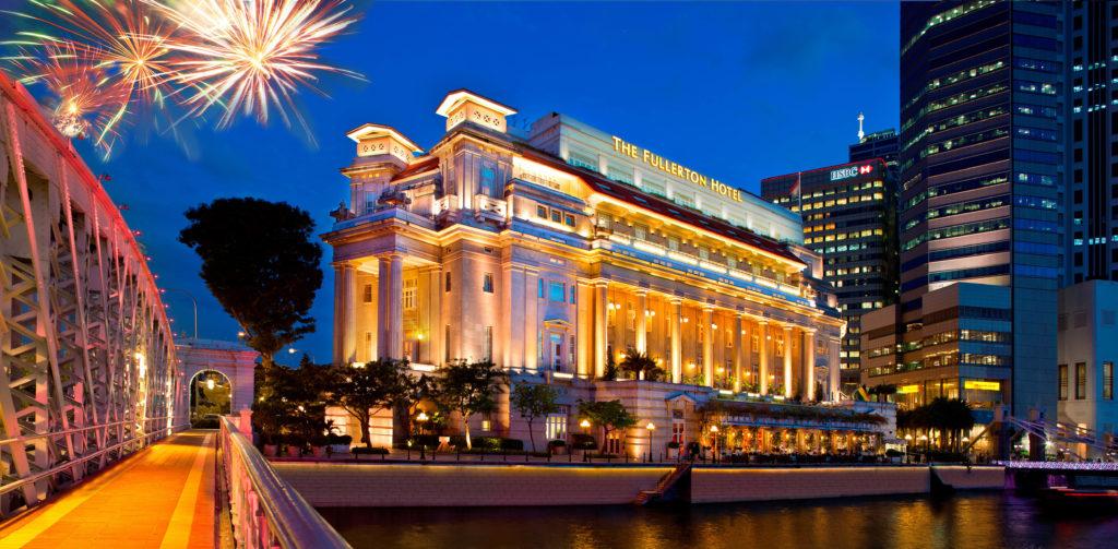 Singapore - 18265 - Fullerton Hotel Singapore facade with fireworks