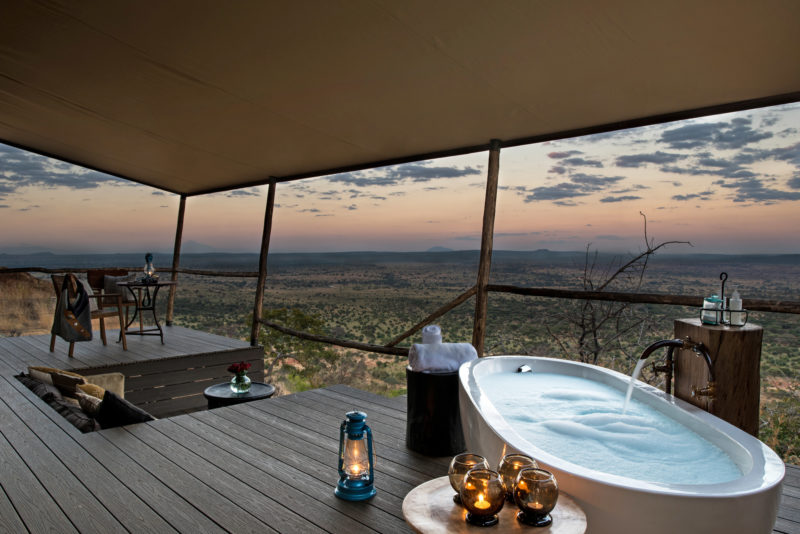 Tanzania - 17467 - Tarangire National Park - Lemala Mpingo Ridge - Decking and bathtub views at dusk