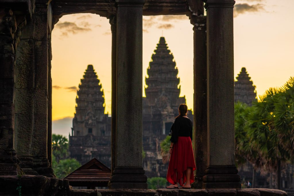 Cambodia - 18260 - Angkor Wat Temple -Silhoutted