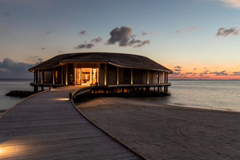 Maldives - Male Atoll - 1567- Kagi Maldives Spa Island - Baani Spa Exterior at dusk