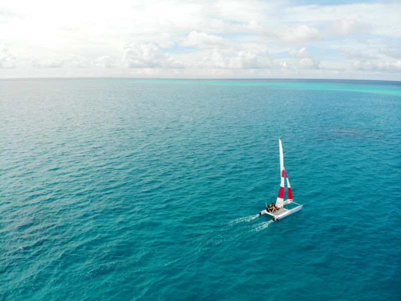 Maldives - Male Atoll - 1567- Kagi Maldives Spa Island - Drone shot of catamaran