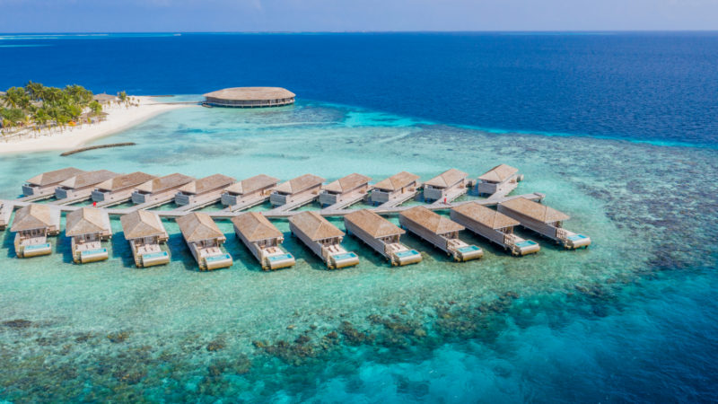 Maldives - Male Atoll - 1567- Kagi Maldives Spa Island - Lagoon Pool Villas Aerial of Atoll