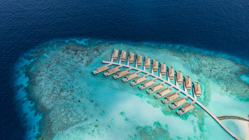 Maldives - Male Atoll - 1567- Kagi Maldives Spa Island - Ocean Pool Villa Atoll Drone View