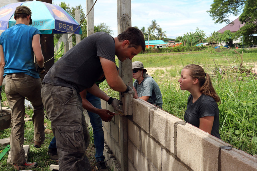 Building School Wall in Laos