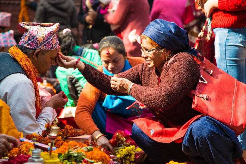 Locals in Nepal Market