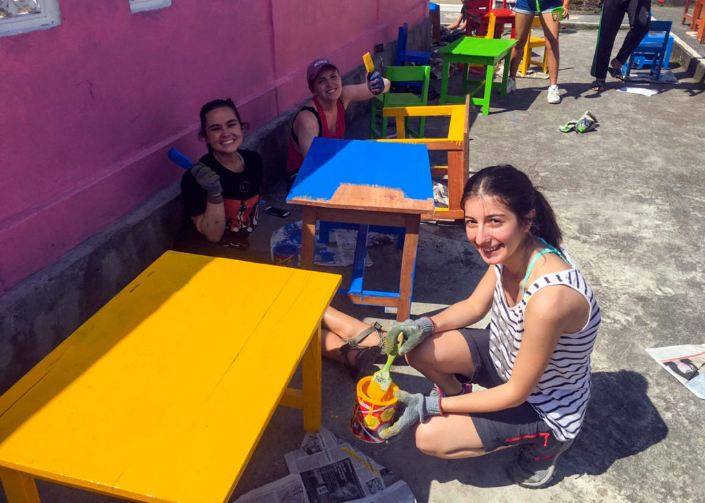 Painting Desks for Bali School Project