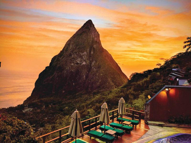 Caribbean - St Lucia, Malgretoute - Ladera Resort at night