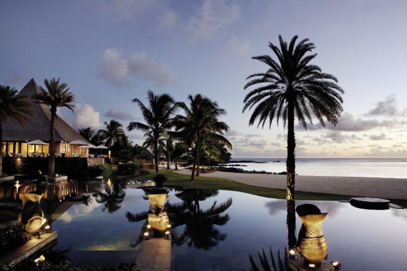 Shanti Maurice Resort & Spa - Pool At Sunset