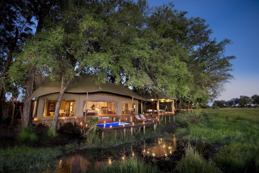 Duba Plains Camp - Private Pool Night